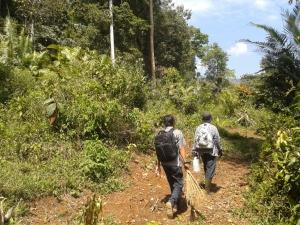 Perjalanan tim infoMJLK menuju situs Gunung Ageung dengan berjalan kaki didampingi juru pelihara situs